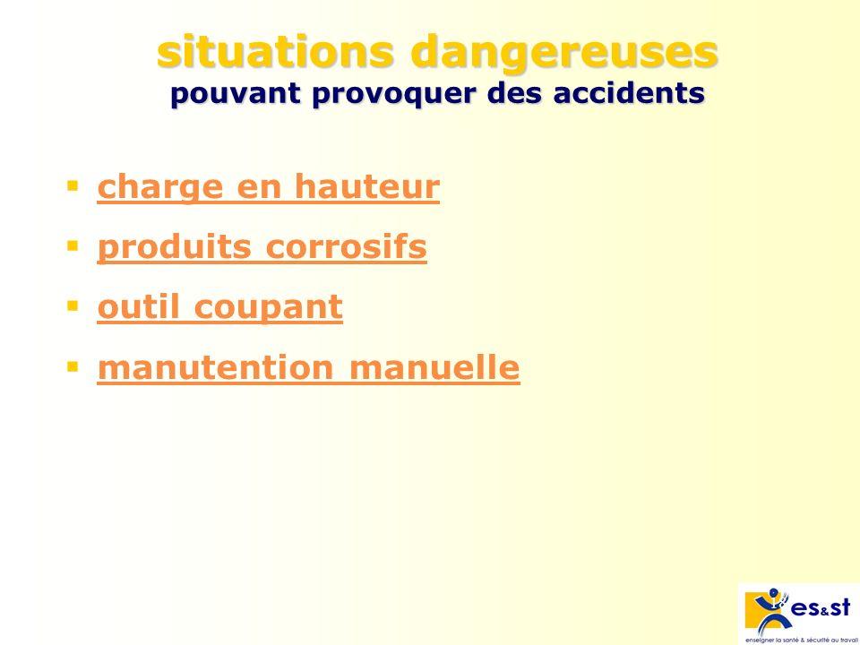 18 situations dangereuses pouvant provoquer des accidents charge en hauteur produits corrosifs outil coupant manutention manuelle