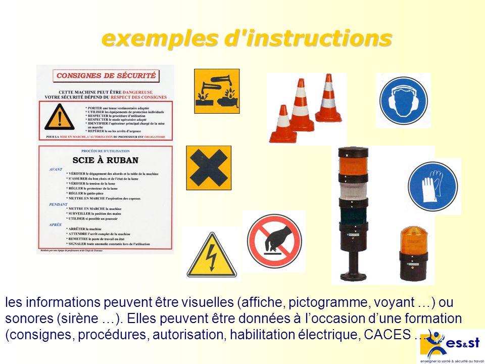 43 exemples d instructions les informations peuvent être visuelles (affiche, pictogramme, voyant …) ou sonores (sirène …).