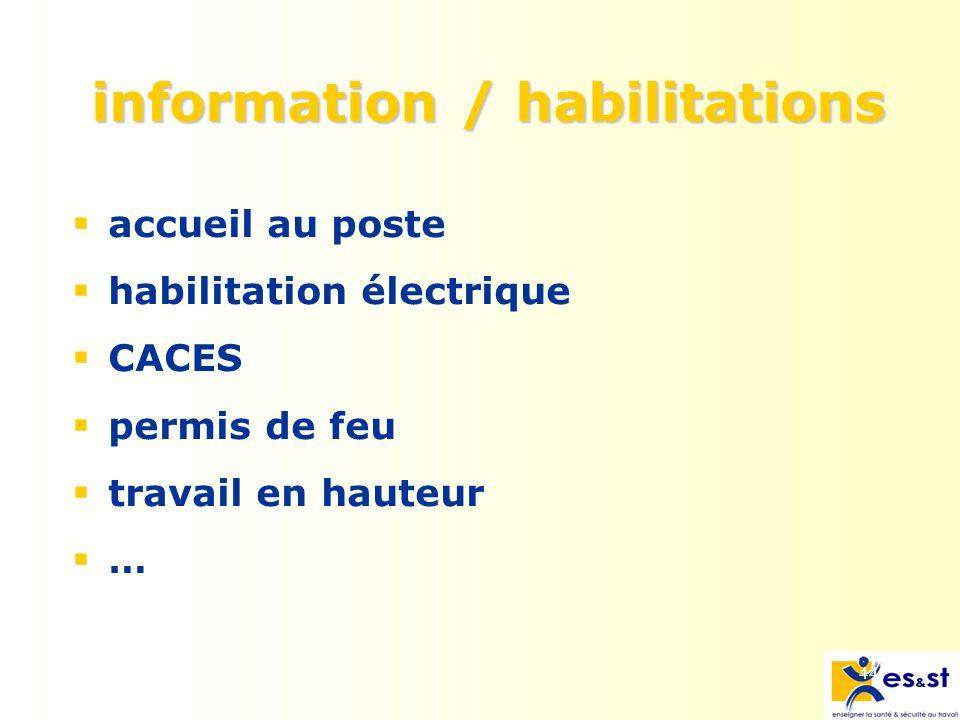 44 information / habilitations accueil au poste habilitation électrique CACES permis de feu travail en hauteur …