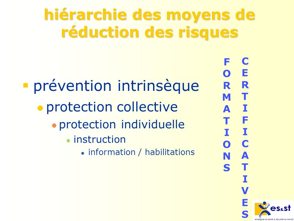 46 hiérarchie des moyens de réduction des risques prévention intrinsèque protection collective protection individuelle instruction information / habilitations FORMATIONSFORMATIONS CERTIFICATIVESCERTIFICATIVES
