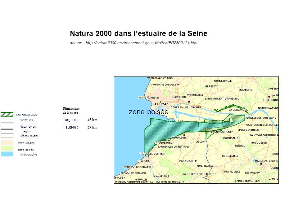 Site natura 2000 commune département région réseau routier zone urbaine zone boisée hydrographie Dimensions de la carte : Largeur : 45 km Hauteur : 29 km zone boisée Natura 2000 dans lestuaire de la Seine source : http://natura2000.environnement.gouv.fr/sites/FR2300121.html