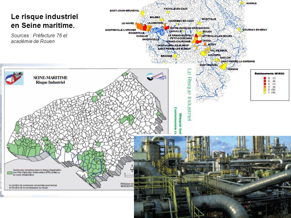 Le risque industriel en Seine maritime. Sources : Préfecture 76 et académie de Rouen