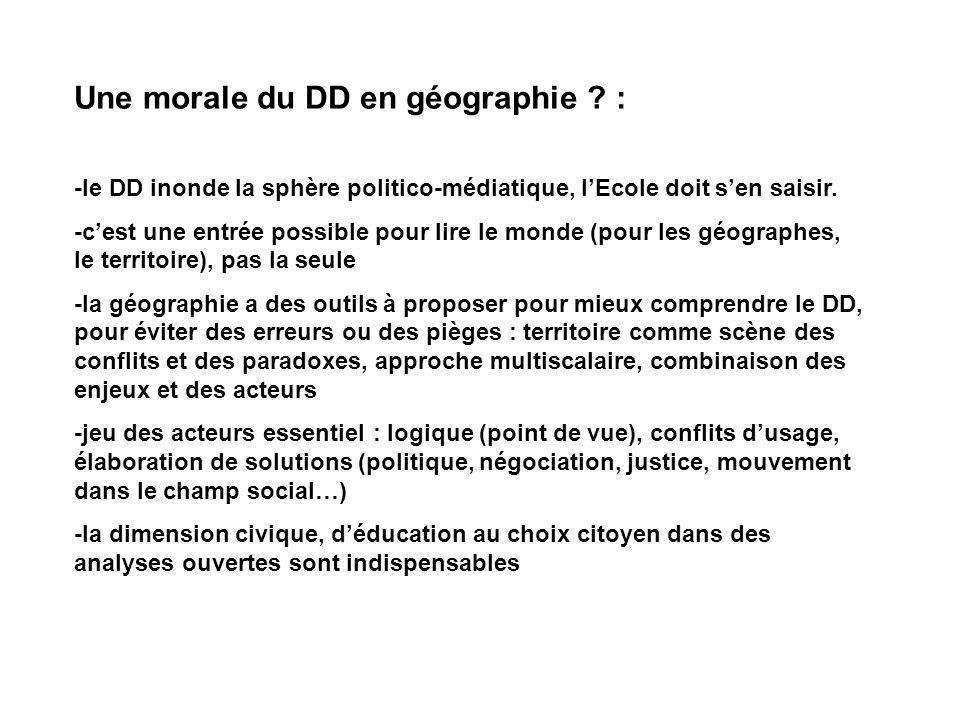 Une morale du DD en géographie .