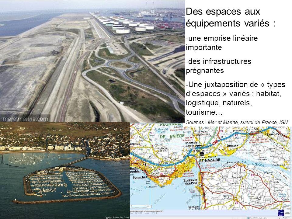 Des espaces aux équipements variés : -une emprise linéaire importante -des infrastructures prégnantes -Une juxtaposition de « types despaces » variés : habitat, logistique, naturels, tourisme… Sources : Mer et Marine, survol de France, IGN