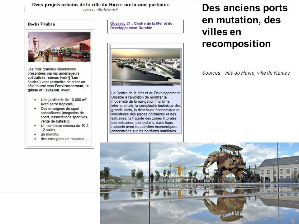 Des anciens ports en mutation, des villes en recomposition Sources : ville du Havre, ville de Nantes