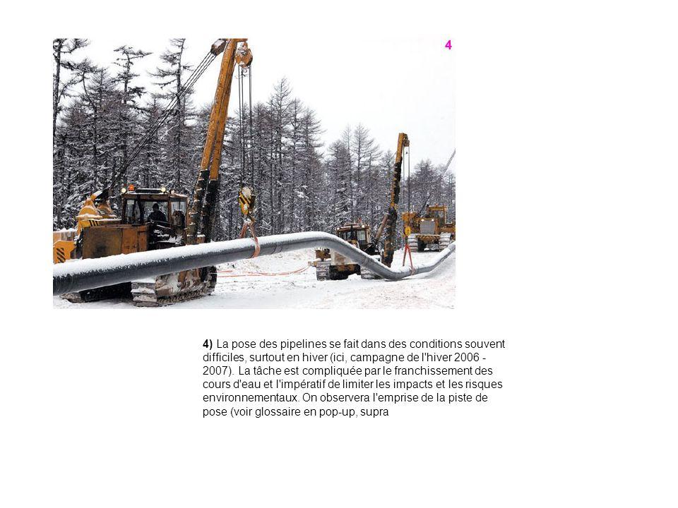 4) La pose des pipelines se fait dans des conditions souvent difficiles, surtout en hiver (ici, campagne de l'hiver 2006 - 2007). La tâche est compliq