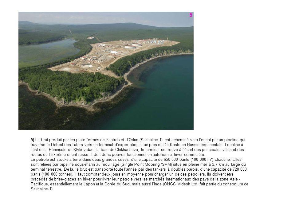 5) Le brut produit par les plate-formes de Yastreb et d'Orlan (Sakhaline-1) est acheminé vers l'ouest par un pipeline qui traverse le Détroit des Tata