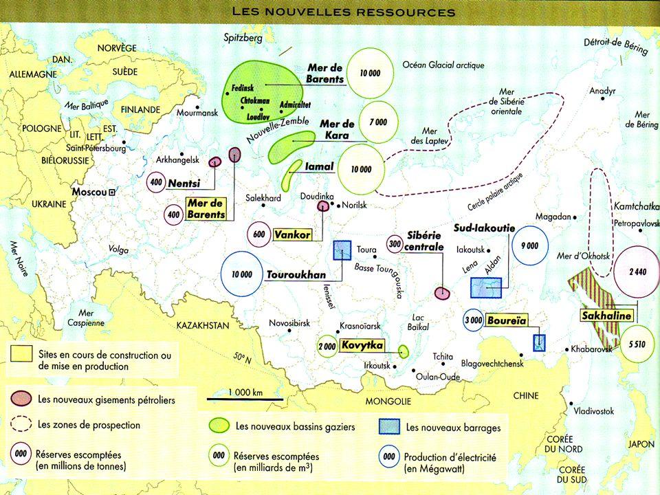 Ressources énergétiques et contraintes en Russie Saint- Pétersbourg Moscou Irkoutsk Novossibirsk Novgorod Salekhard Océan glacial Arctique FICHE Légende