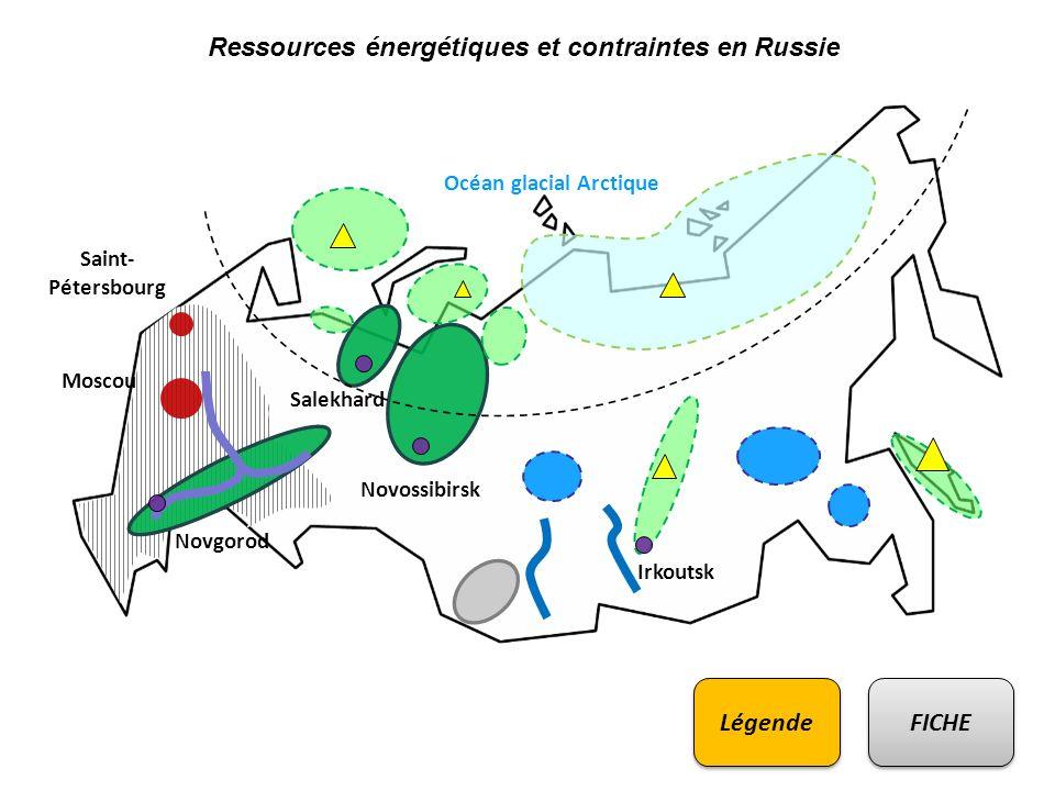 Ressources énergétiques et contraintes en Russie Saint- Pétersbourg Moscou Irkoutsk Novossibirsk Novgorod Salekhard Océan glacial Arctique FICHE Légen