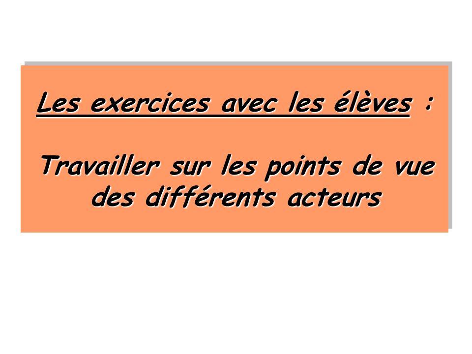 Les exercices avec les élèves : Travailler sur les points de vue des différents acteurs