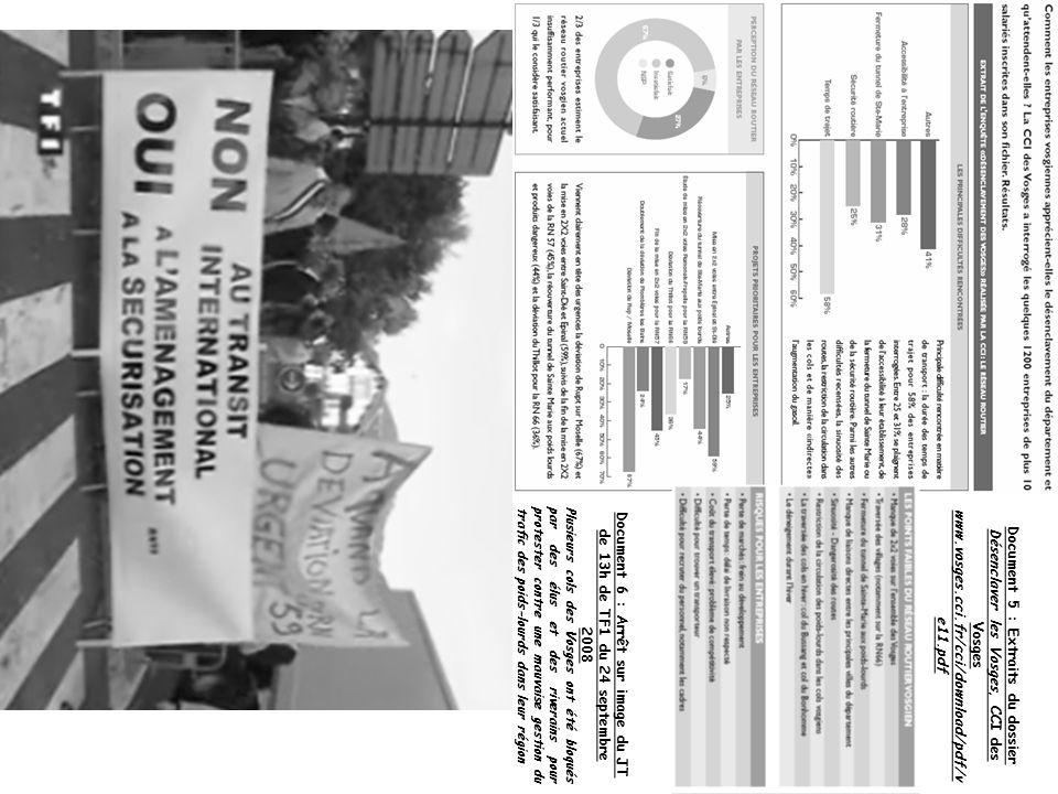 Document 5 : Extraits du dossier Désenclaver les Vosges, CCI des Vosges www.vosges.cci.fr/cci/download/pdf/v e11.pdf Document 6 : Arrêt sur image du J