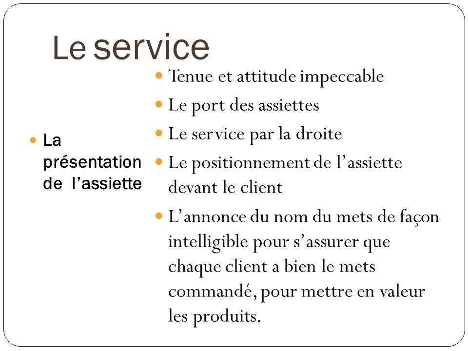 Le service La présentation de lassiette Tenue et attitude impeccable Le port des assiettes Le service par la droite Le positionnement de lassiette dev