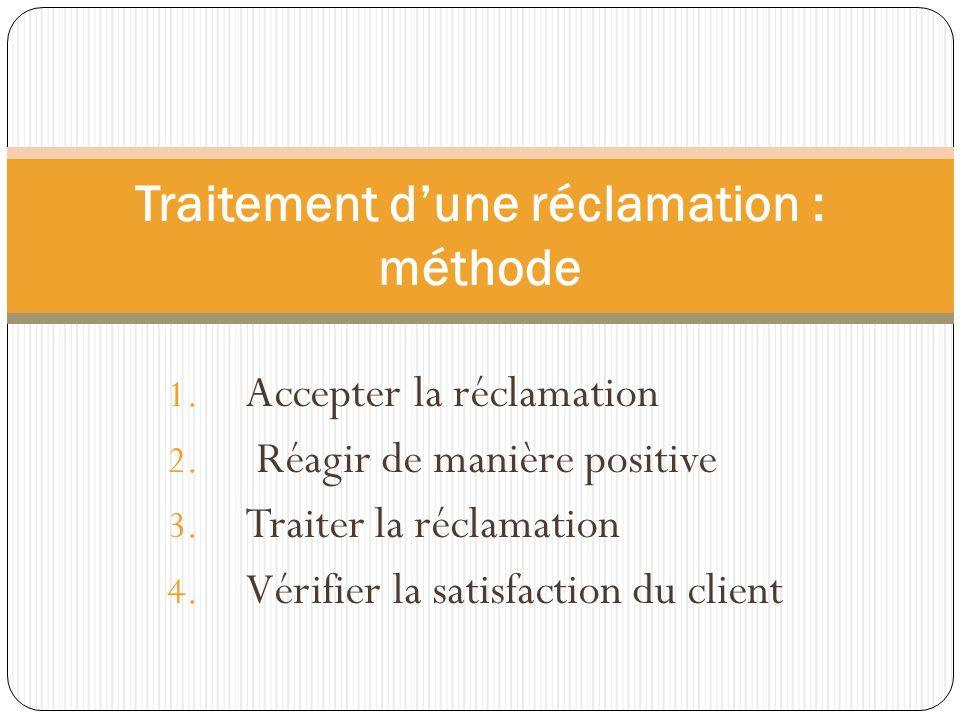 1. Accepter la réclamation 2. Réagir de manière positive 3. Traiter la réclamation 4. Vérifier la satisfaction du client Traitement dune réclamation :