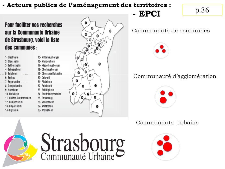 - EPCI Communauté de communes Communauté dagglomération Communauté urbaine p.36 - Acteurs publics de laménagement des territoires :