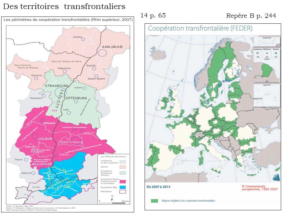 Repère B p. 244 14 p. 65 Des territoires transfrontaliers