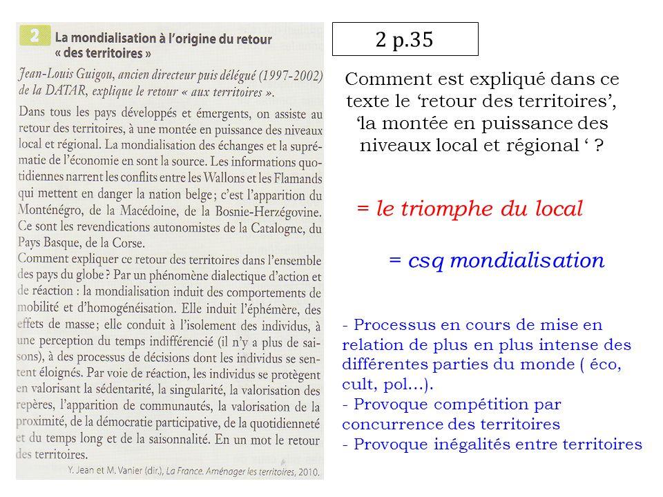 2 p.35 Comment est expliqué dans ce texte le retour des territoires,la montée en puissance des niveaux local et régional ? = le triomphe du local = cs