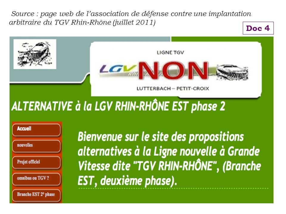 Source : page web de lassociation de défense contre une implantation arbitraire du TGV Rhin-Rhône (juillet 2011) Doc 4