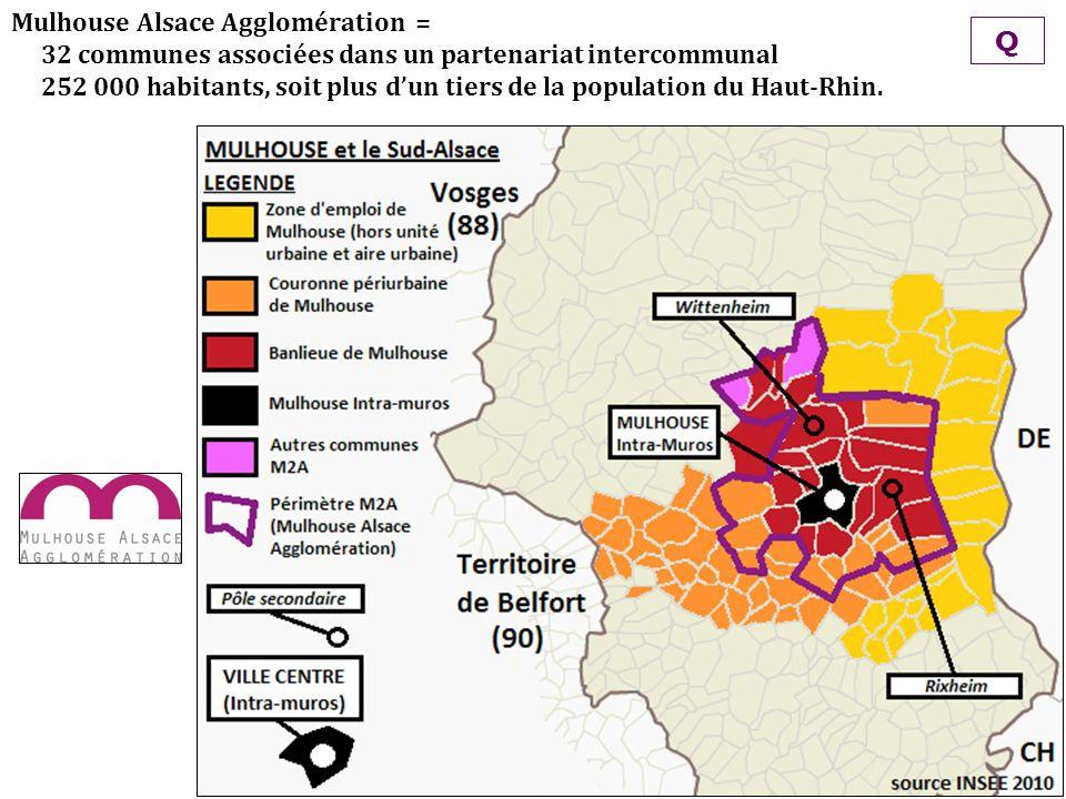 Mulhouse Alsace Agglomération = 32 communes associées dans un partenariat intercommunal 252 000 habitants, soit plus dun tiers de la population du Hau