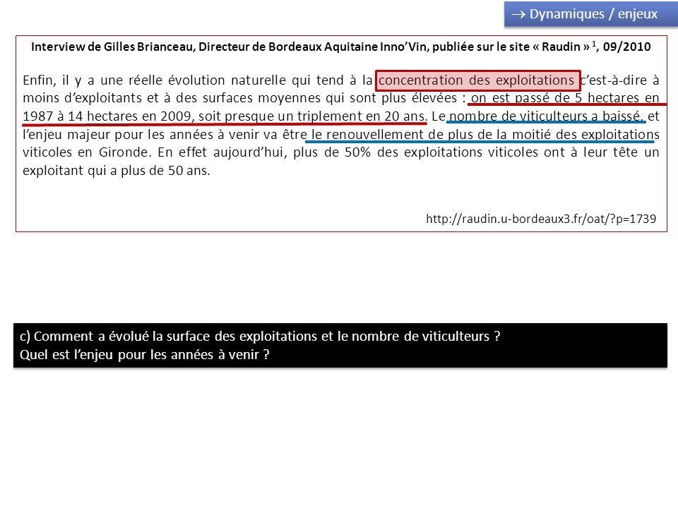 Interview de Gilles Brianceau, Directeur de Bordeaux Aquitaine InnoVin, publiée sur le site « Raudin » 1, 09/2010 Enfin, il y a une réelle évolution n