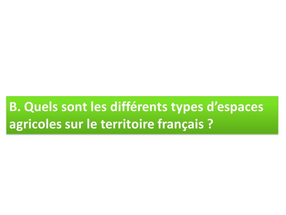 B. Quels sont les différents types despaces agricoles sur le territoire français ?