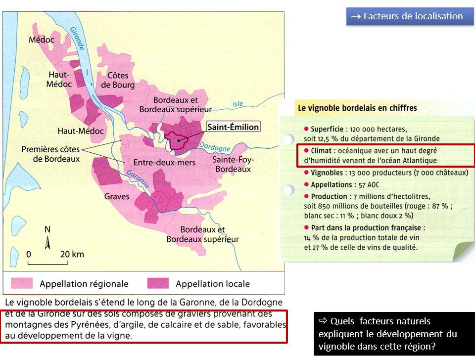 Facteurs de localisation Quels facteurs historiques expliquent le développement du vignoble dans cette région?