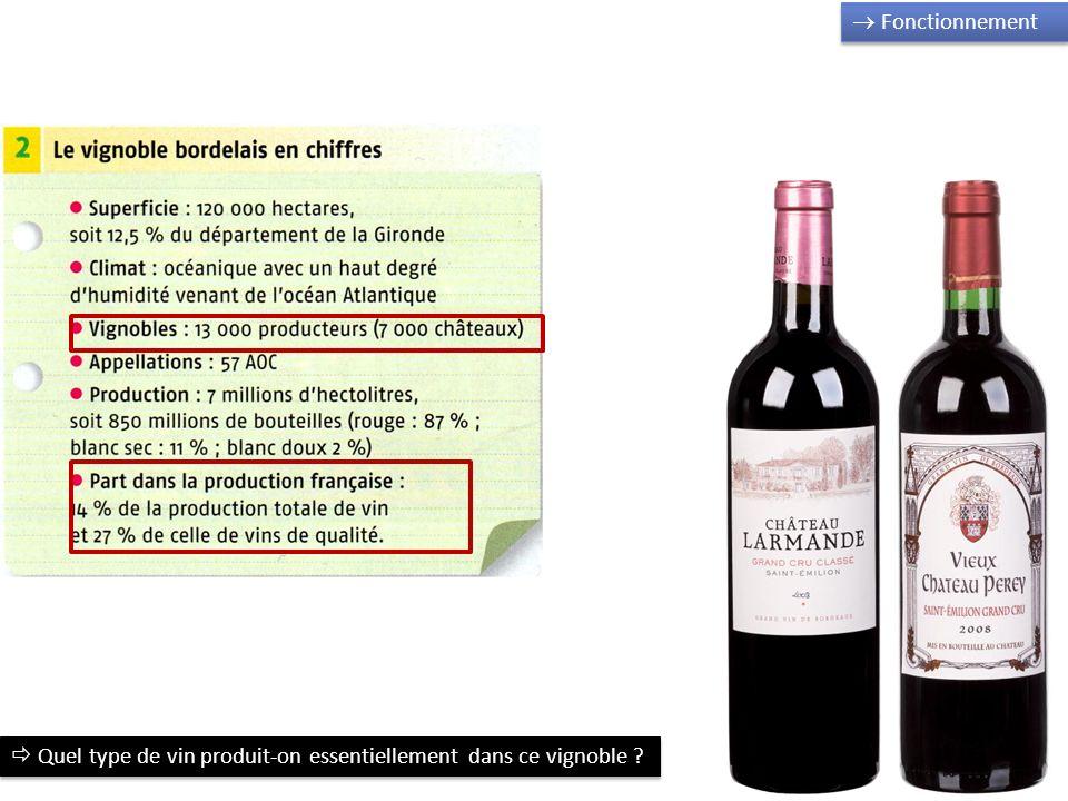 Fonctionnement Quel type de vin produit-on essentiellement dans ce vignoble ?