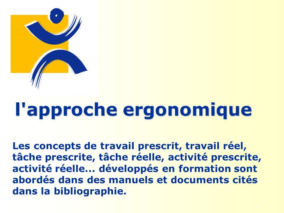 1 l'approche ergonomique Les concepts de travail prescrit, travail réel, tâche prescrite, tâche réelle, activité prescrite, activité réelle... dévelop