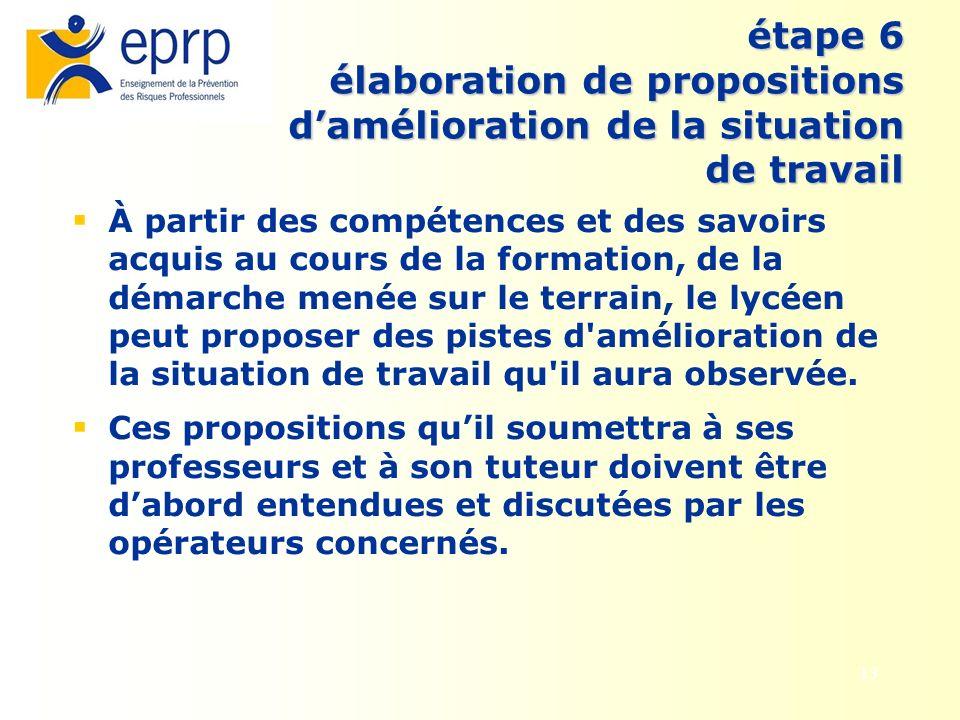13 étape 6 élaboration de propositions damélioration de la situation de travail À partir des compétences et des savoirs acquis au cours de la formatio
