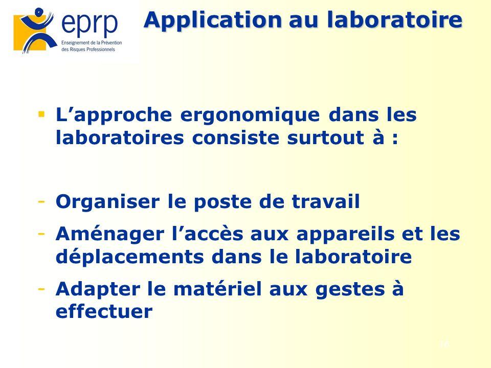 16 Application au laboratoire Lapproche ergonomique dans les laboratoires consiste surtout à : - Organiser le poste de travail - Aménager laccès aux a