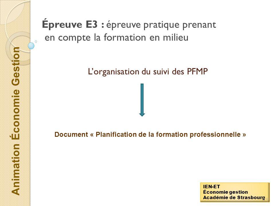 Animation Économie Gestion IEN-ET Économie gestion Académie de Strasbourg Épreuve E3 : épreuve pratique prenant en compte la formation en milieu profe