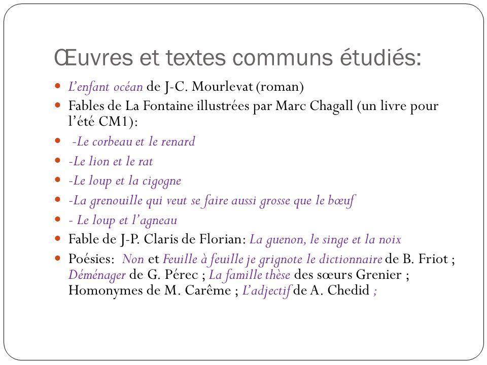 Œuvres et textes communs étudiés: Lenfant océan de J-C. Mourlevat (roman) Fables de La Fontaine illustrées par Marc Chagall (un livre pour lété CM1):