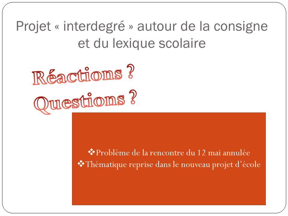 Problème de la rencontre du 12 mai annulée Thématique reprise dans le nouveau projet décole Projet « interdegré » autour de la consigne et du lexique