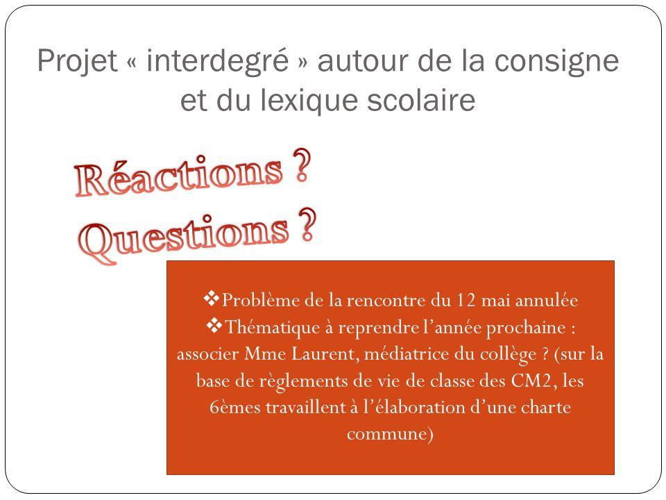 Problème de la rencontre du 12 mai annulée Thématique à reprendre lannée prochaine : associer Mme Laurent, médiatrice du collège ? (sur la base de règ