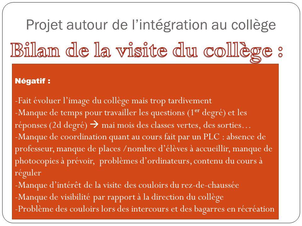Projet autour de lintégration au collège Négatif : -Fait évoluer limage du collège mais trop tardivement -Manque de temps pour travailler les question