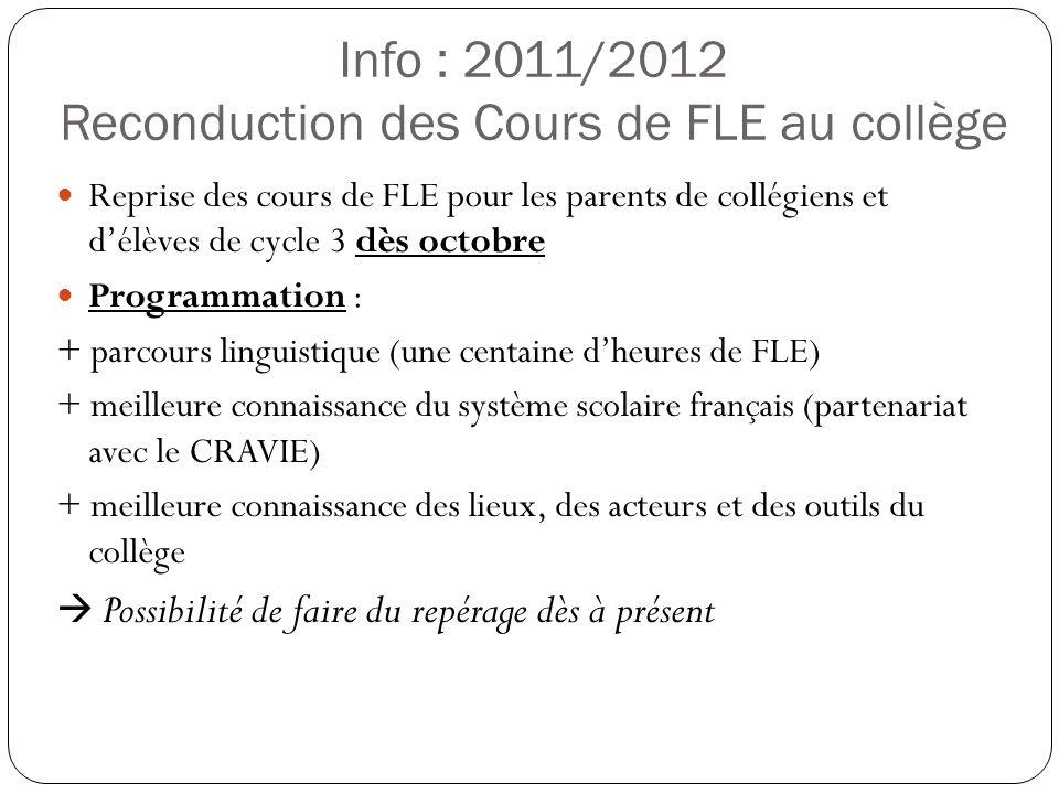 Info : 2011/2012 Reconduction des Cours de FLE au collège Reprise des cours de FLE pour les parents de collégiens et délèves de cycle 3 dès octobre Pr