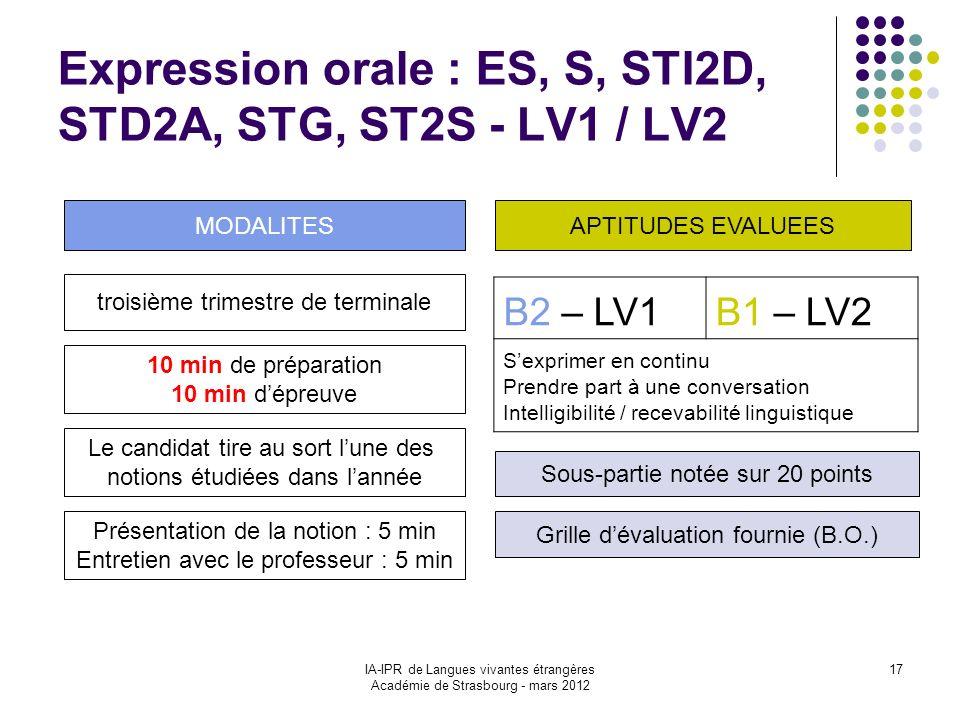 IA-IPR de Langues vivantes étrangères Académie de Strasbourg - mars 2012 17 Expression orale : ES, S, STI2D, STD2A, STG, ST2S - LV1 / LV2 B2 – LV1B1 –