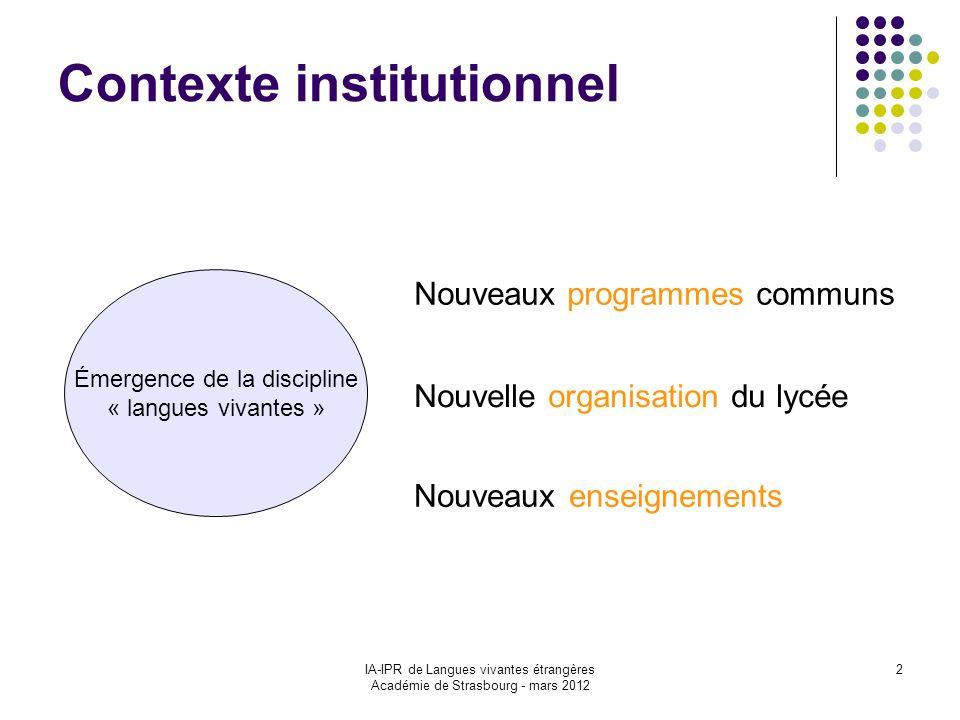 IA-IPR de Langues vivantes étrangères Académie de Strasbourg - mars 2012 2 Contexte institutionnel Nouveaux enseignements Émergence de la discipline «