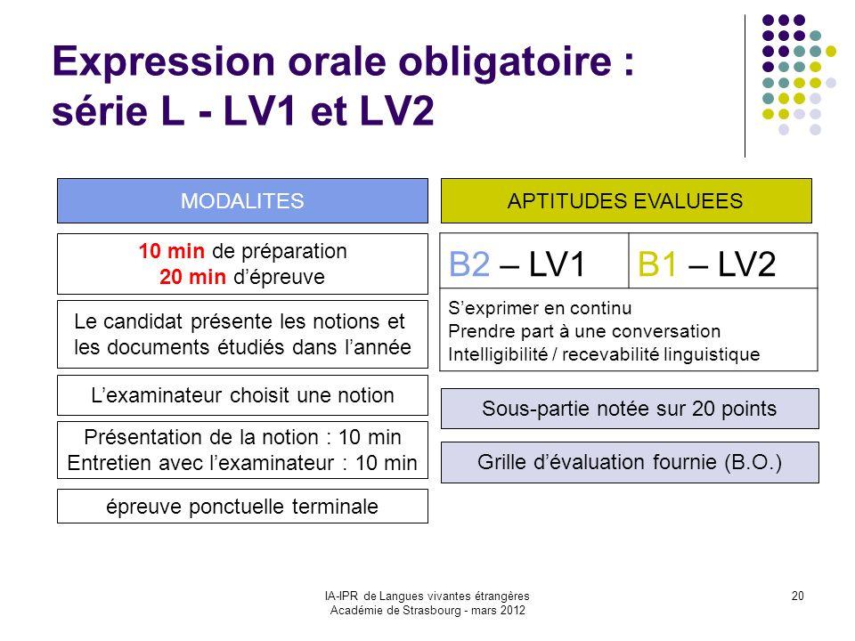IA-IPR de Langues vivantes étrangères Académie de Strasbourg - mars 2012 20 Expression orale obligatoire : série L - LV1 et LV2 B2 – LV1B1 – LV2 Sexpr