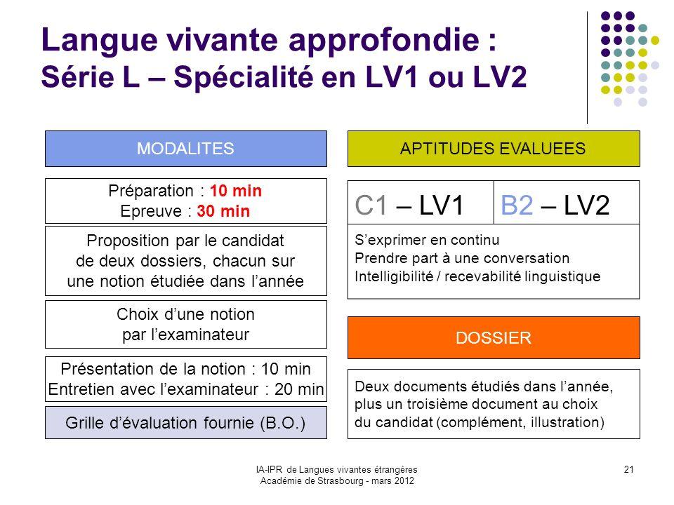 IA-IPR de Langues vivantes étrangères Académie de Strasbourg - mars 2012 21 Langue vivante approfondie : Série L – Spécialité en LV1 ou LV2 Préparatio