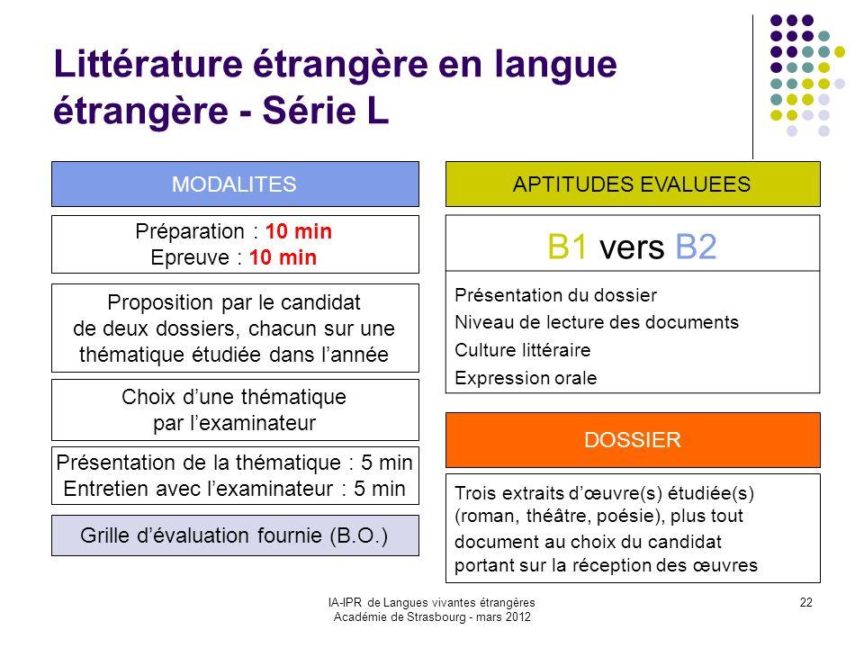 IA-IPR de Langues vivantes étrangères Académie de Strasbourg - mars 2012 22 Littérature étrangère en langue étrangère - Série L Préparation : 10 min E