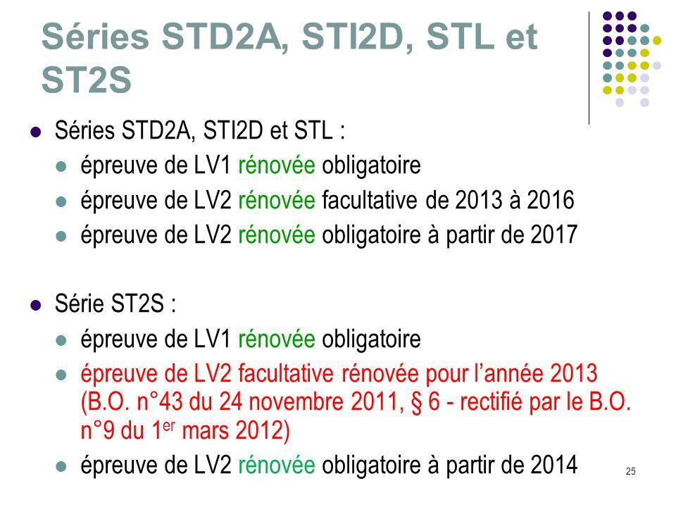Séries STD2A, STI2D, STL et ST2S 25 Séries STD2A, STI2D et STL : épreuve de LV1 rénovée obligatoire épreuve de LV2 rénovée facultative de 2013 à 2016