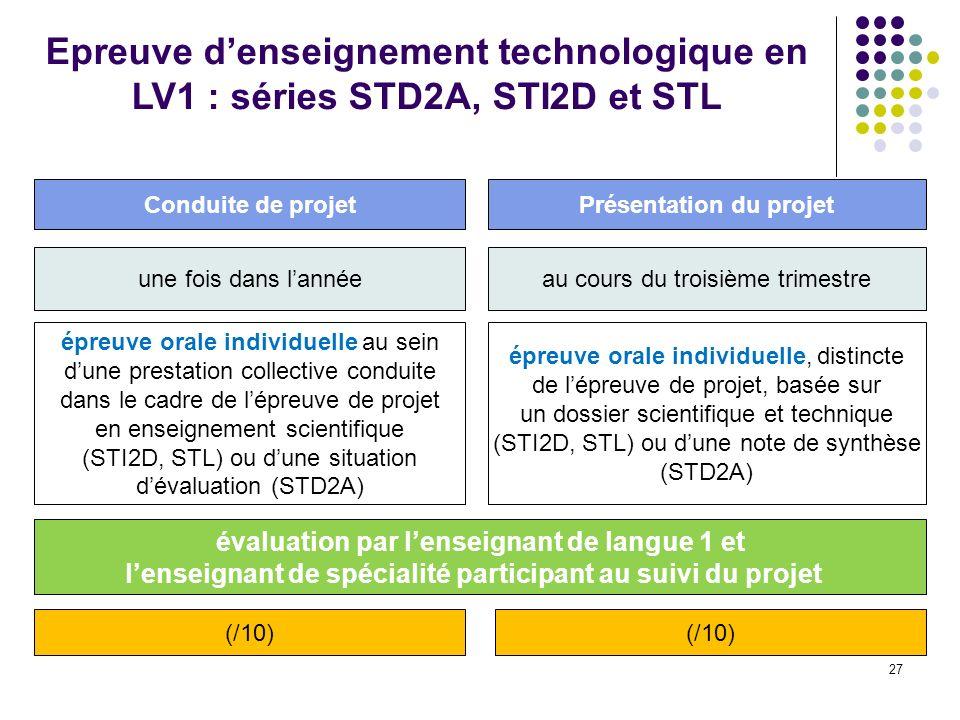 27 Epreuve denseignement technologique en LV1 : séries STD2A, STI2D et STL une fois dans lannée épreuve orale individuelle au sein dune prestation col