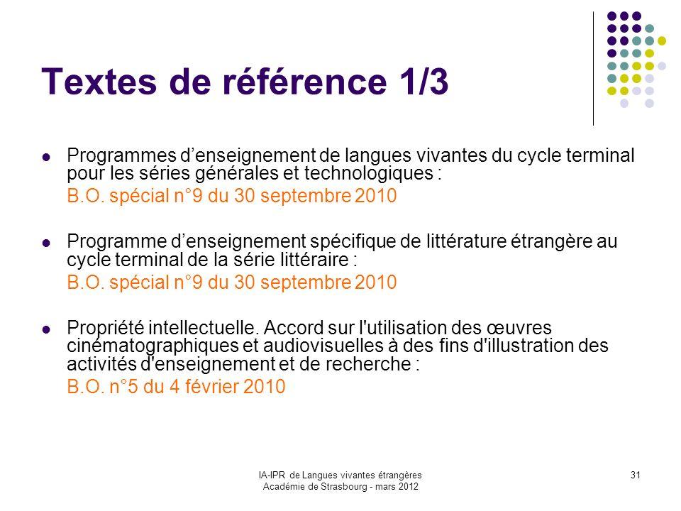 IA-IPR de Langues vivantes étrangères Académie de Strasbourg - mars 2012 31 Textes de référence 1/3 Programmes denseignement de langues vivantes du cy