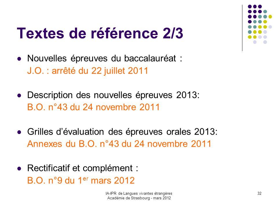 IA-IPR de Langues vivantes étrangères Académie de Strasbourg - mars 2012 32 Textes de référence 2/3 Nouvelles épreuves du baccalauréat : J.O. : arrêté