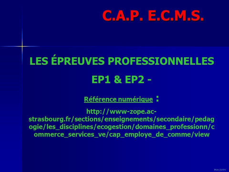 LES ÉPREUVES PROFESSIONNELLES EP1 & EP2 - Référence numérique : http://www-zope.ac- strasbourg.fr/sections/enseignements/secondaire/pedag ogie/les_dis