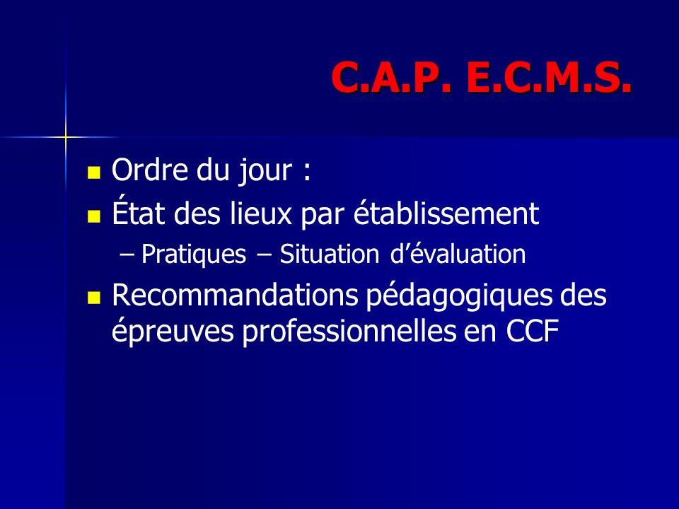 C.A.P. E.C.M.S. Ordre du jour : État des lieux par établissement – –Pratiques – Situation dévaluation Recommandations pédagogiques des épreuves profes