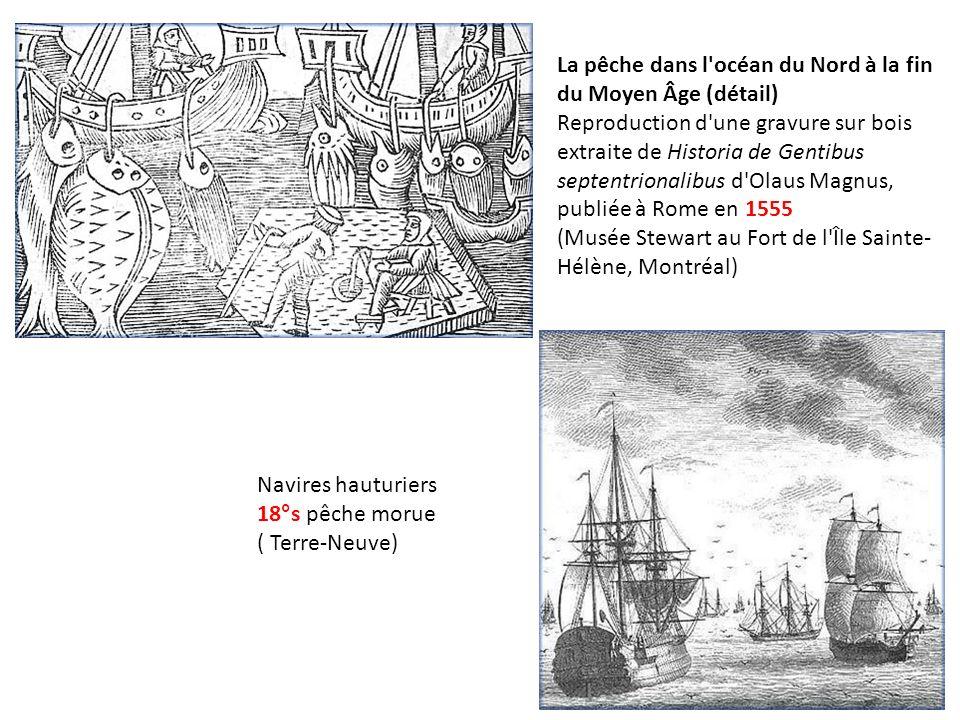 La pêche dans l'océan du Nord à la fin du Moyen Âge (détail) Reproduction d'une gravure sur bois extraite de Historia de Gentibus septentrionalibus d'