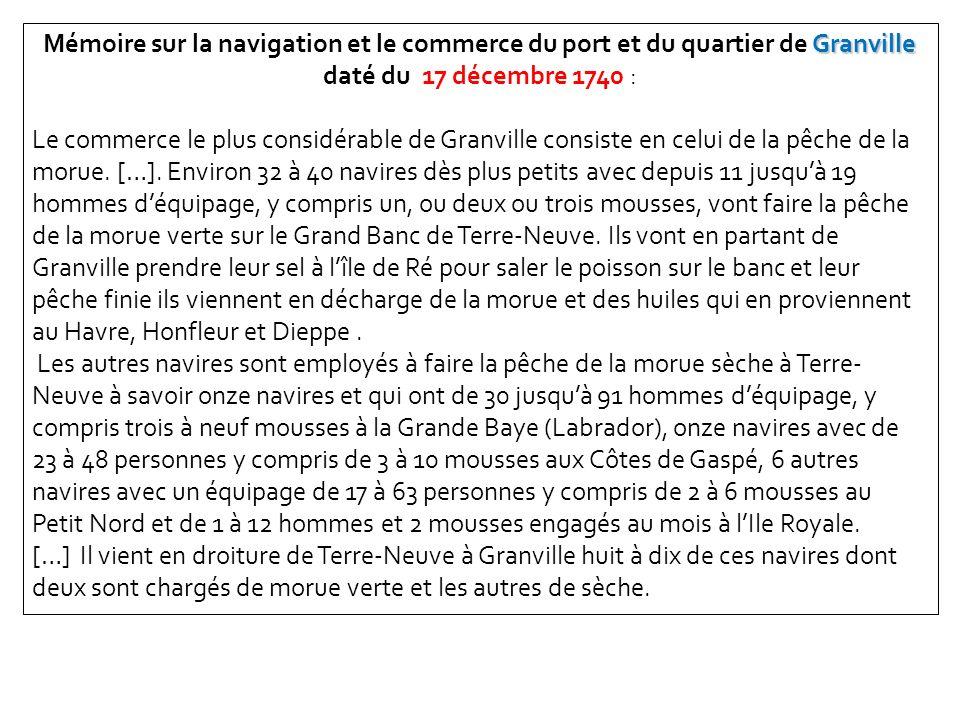 Granville Mémoire sur la navigation et le commerce du port et du quartier de Granville daté du 17 décembre 1740 : Le commerce le plus considérable de