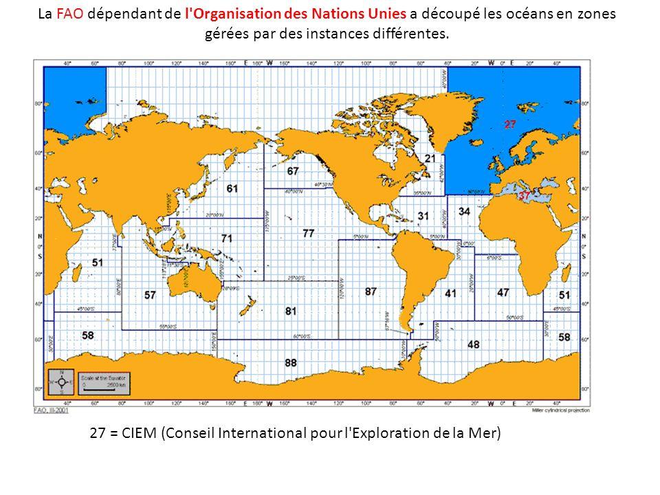 La FAO dépendant de l'Organisation des Nations Unies a découpé les océans en zones gérées par des instances différentes. 27 = CIEM (Conseil Internatio