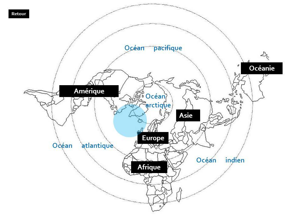 Amérique Afrique Asie Europe Océanie Océan pacifique Océan atlantique Océan indien Océan arctique Retour